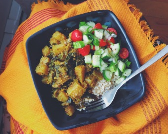Curried turnips and greens