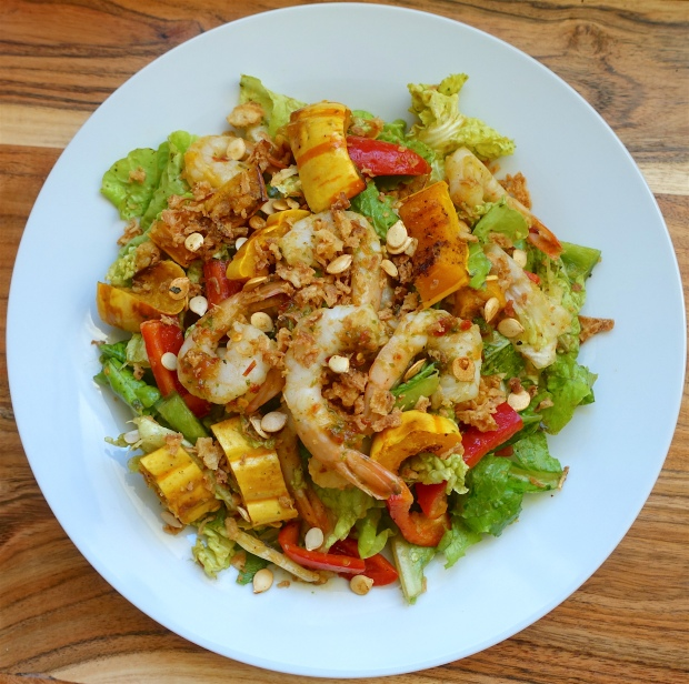 Spicy Shrimp and Winter Squash Salad with Cilantro and Crispy Onions